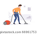 Professional cleaner cleans the house with a vacuum cleaner. Cleaning service professional duties offer conceps. Vector illustration 66961753