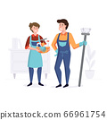 Smiling staff from the cleaning company after cleaning. Professional service team concept. Vector illustration 66961754