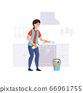 Woman from a cleaning service professional cleans cooking surface in the kitchen. Vector illustration 66961755