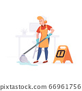 Woman from cleaning company staff cleans the office with a mop with water. Vector illustration in a flat style 66961756