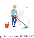 Man from cleaning company staff cleans the office with a mop with water. Vector illustration 66961757