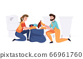 Man with woman from cleaning company staff collecting garbage in package. Vector illustration in a flat style 66961760