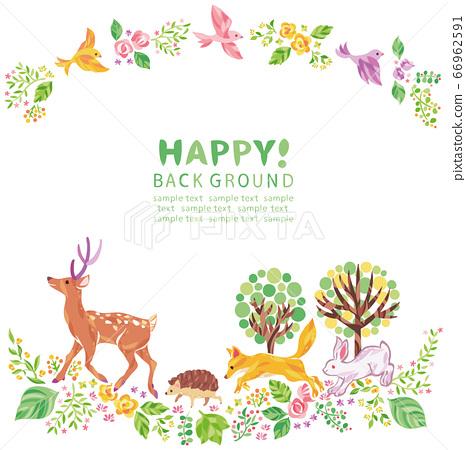 植物和動物(例如樹木,花朵和草叢)的插圖框架 66962591
