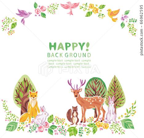 나무, 꽃, 잔디 등의 식물과 동물 그림 프레임 66962595