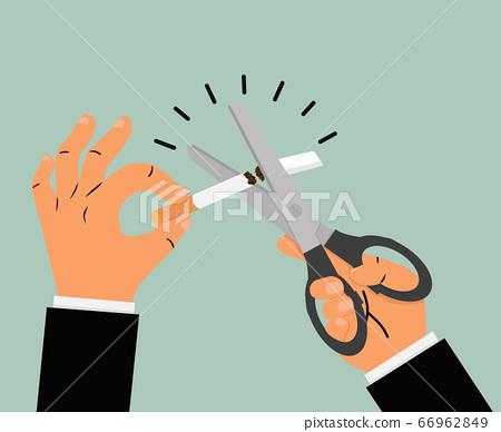Businessman hands holding Scissors cutting a 66962849