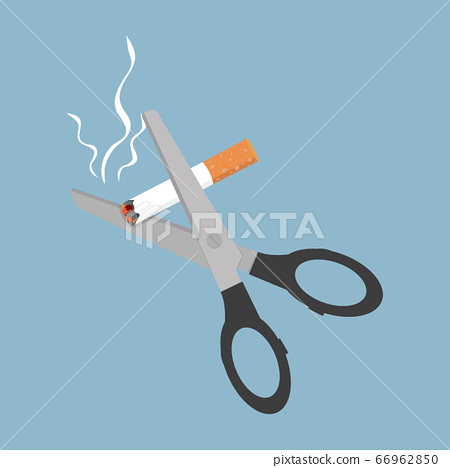 Scissors cutting a cigarrette in flat style 66962850