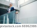 Portrait of attractive flight attendant standing on airport. 66962986