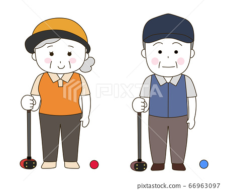 The style of an old man playing park golf (white face) 66963097