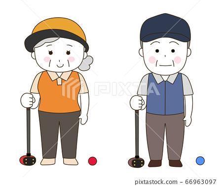 파크 골프를하는 노인의 스타일 (白顔) 66963097
