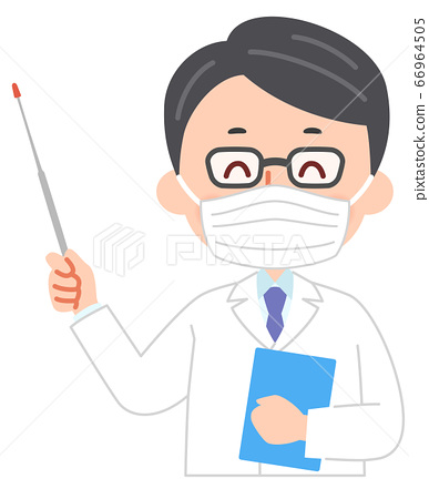 Doctor with mask holding a pointing stick 66964505