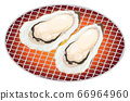 Illustration of grilled oysters _ Seafood grilled 66964960