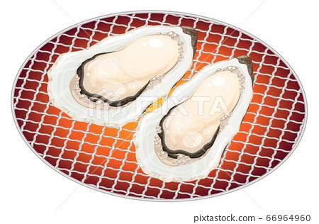 烤牡蠣的插圖_海鮮烤 66964960