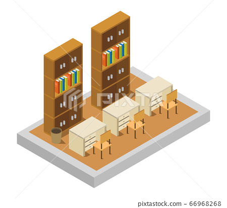 isometric library room 66968268
