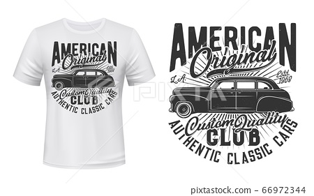 American old car t-shirt print vector mockup 66972344