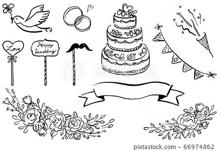 婚禮圖設置線條圖黑色1顏色 66974862