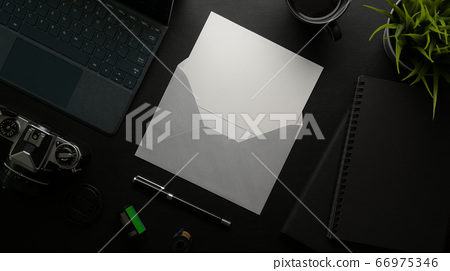 Mock-up greeting card with grey envelope on dark 66975346