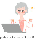 Senior woman with laptop and glasses 66978736