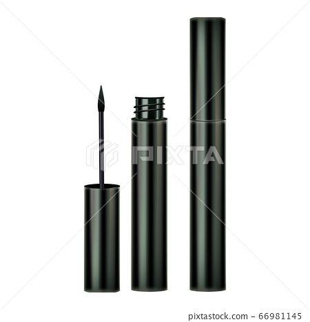 Eyeliner Brush And Container Cosmetics Set Vector 66981145
