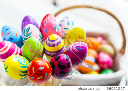 Easter holiday concept,Colorful Easter eggs in egg 66981247