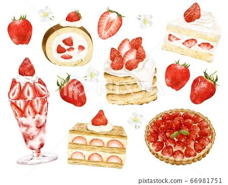 各種草莓糖果設置水彩風格的插圖 66981751