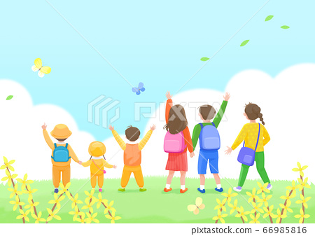 Start a new life concept, happy group of people from the back illustration 006 66985816