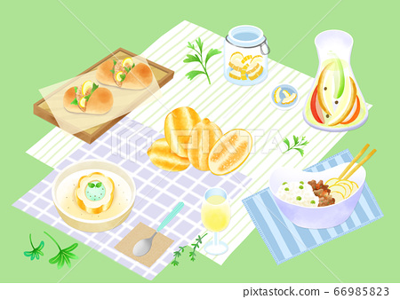 Spring picnic with different food on blanket illustration 020 66985823