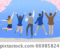 Start a new life concept, happy group of people from the back illustration 004 66985824