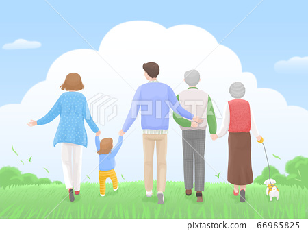 Start a new life concept, happy group of people from the back illustration 003 66985825
