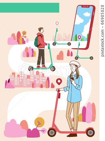 Sharing economy concept, various sharing services with people characters, smartphones illustration 007 66985828