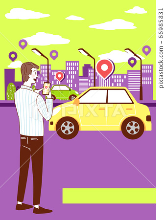 Sharing economy concept, various sharing services with people characters, smartphones illustration 004 66985831