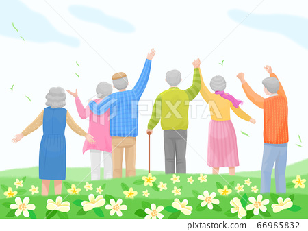 Start a new life concept, happy group of people from the back illustration 007 66985832