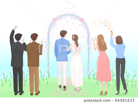 Start a new life concept, happy group of people from the back illustration 002 66985833