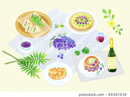 Spring picnic with different food on blanket illustration 015 66985836