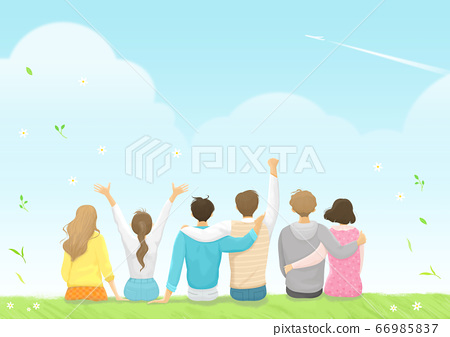 Start a new life concept, happy group of people from the back illustration 001 66985837