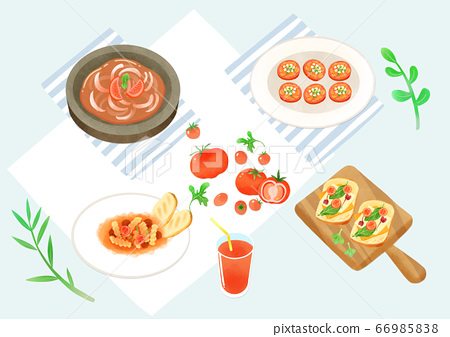 Spring picnic with different food on blanket illustration 013 66985838