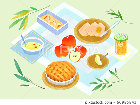 Spring picnic with different food on blanket illustration 011 66985843