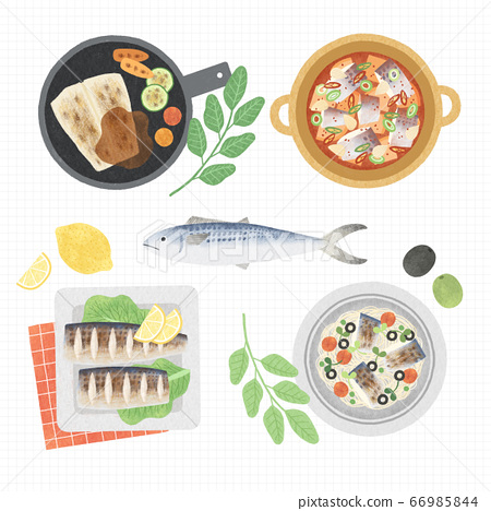 Korean cuisine flat vector collection of dishes illustration 005 66985844