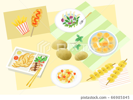Spring picnic with different food on blanket illustration 005 66985845