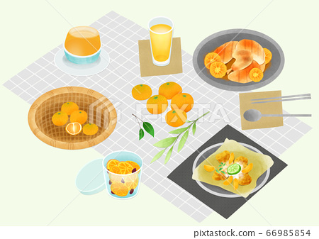 Spring picnic with different food on blanket illustration 018 66985854
