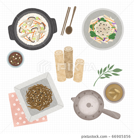 Korean cuisine flat vector collection of dishes illustration 004 66985856