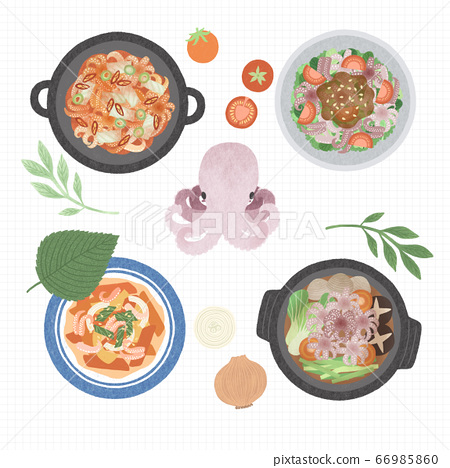 Korean cuisine flat vector collection of dishes illustration 009 66985860