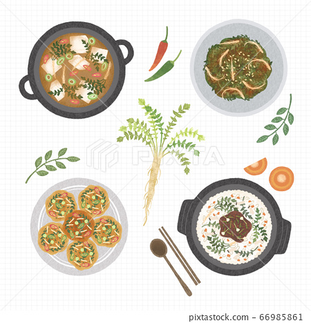 Korean cuisine flat vector collection of dishes illustration 001 66985861