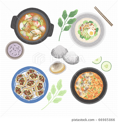 Korean cuisine flat vector collection of dishes illustration 003 66985866