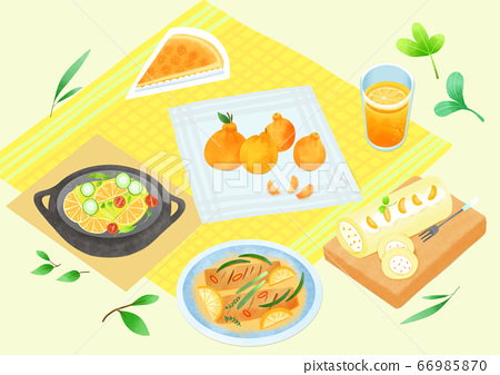 Spring picnic with different food on blanket illustration 007 66985870