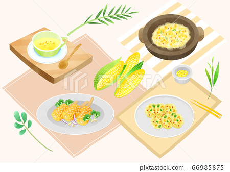 Spring picnic with different food on blanket illustration 012 66985875