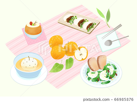 Spring picnic with different food on blanket illustration 017 66985876