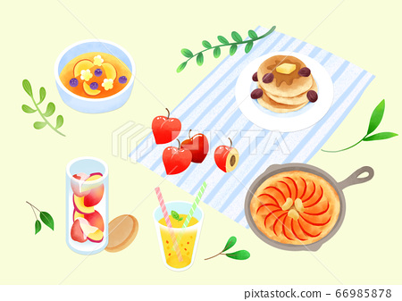 Spring picnic with different food on blanket illustration 010 66985878
