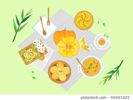 Spring picnic with different food on blanket illustration 001 66985885