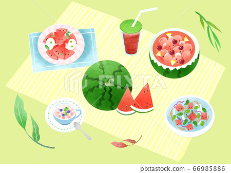 Spring picnic with different food on blanket illustration 004 66985886