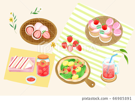 Spring picnic with different food on blanket illustration 003 66985891
